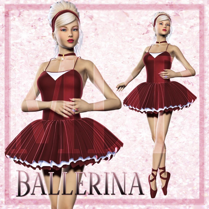 Ballerina in Red Dress Graphics image 0