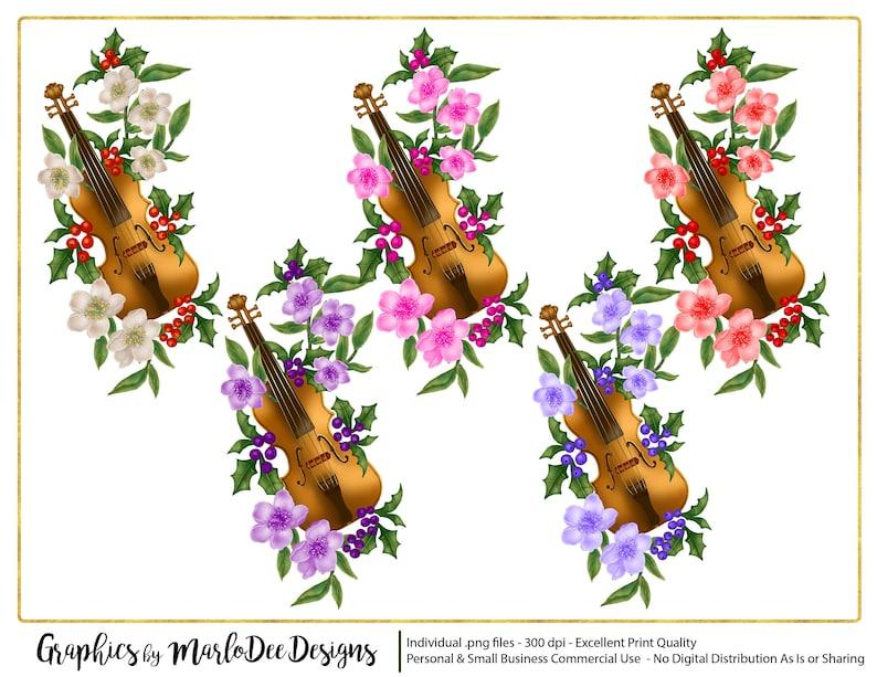 Violin & Flowers Graphics  Commercial Use Digital Designer image 0