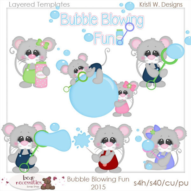 Bubble Blowing Fun Mice  Layered Templates by Kristi W image 0