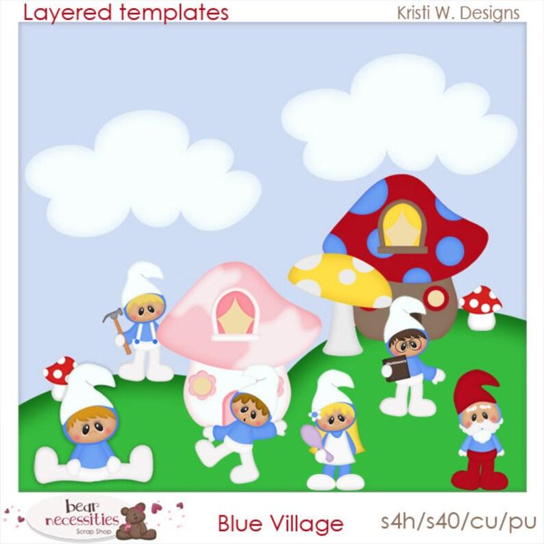 Blue Village Gnomes  Layered Templates by Kristi W Designs image 0