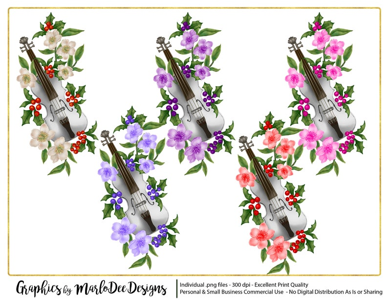 White Violin & Flowers Graphics  Commercial Use Digital image 0