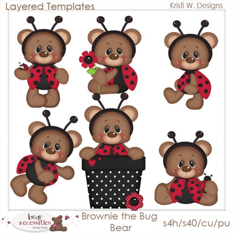 Brownie the Ladybug Bear  Layered Templates by Kristi W image 0