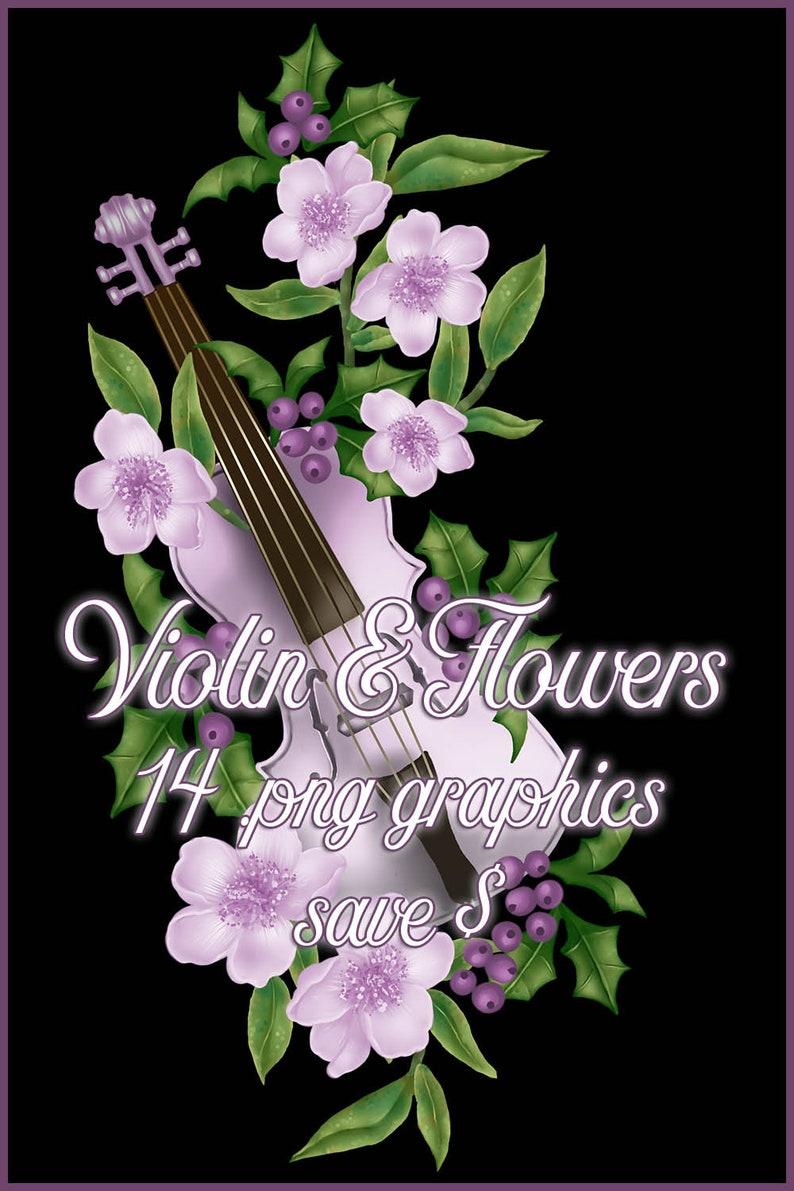 Bundle Set  Violin & Flowers Graphics  14 Commercial Use image 0