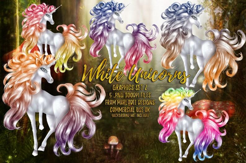 White Unicorn Graphics set 2  Commercial Use Digital image 0