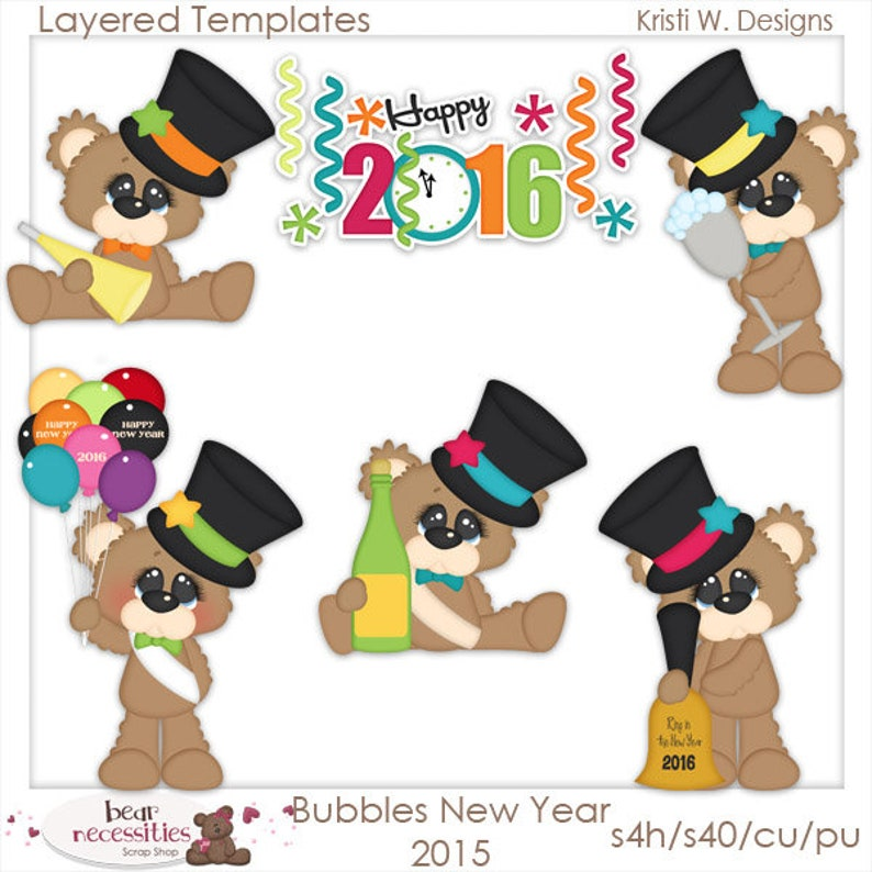New Years Eve Celebration  Bubbles Teddy Bears  Layered image 0