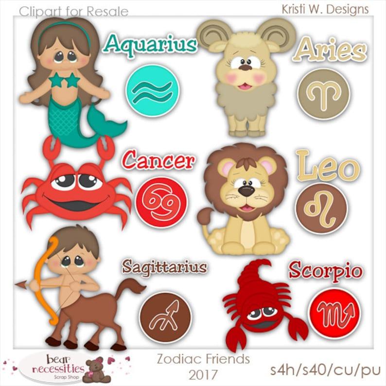 Commercial Use Clip Art  Zodiac Friends Graphics set 1  image 0