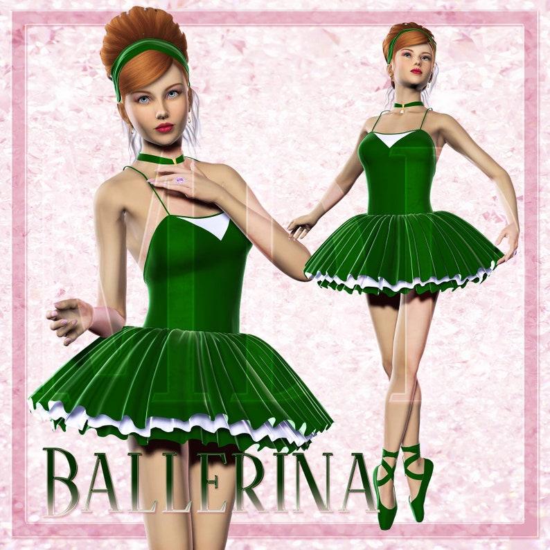 Ballerina in Green Dress Graphics image 0