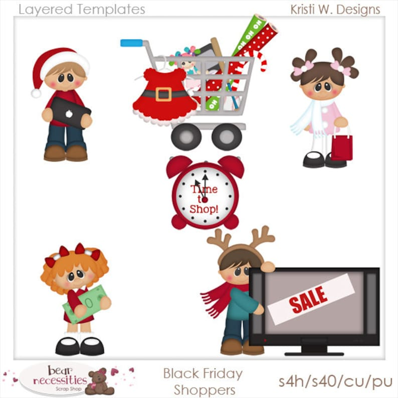 Black Friday Shoppers  Layered Templates by Kristi W Designs image 0