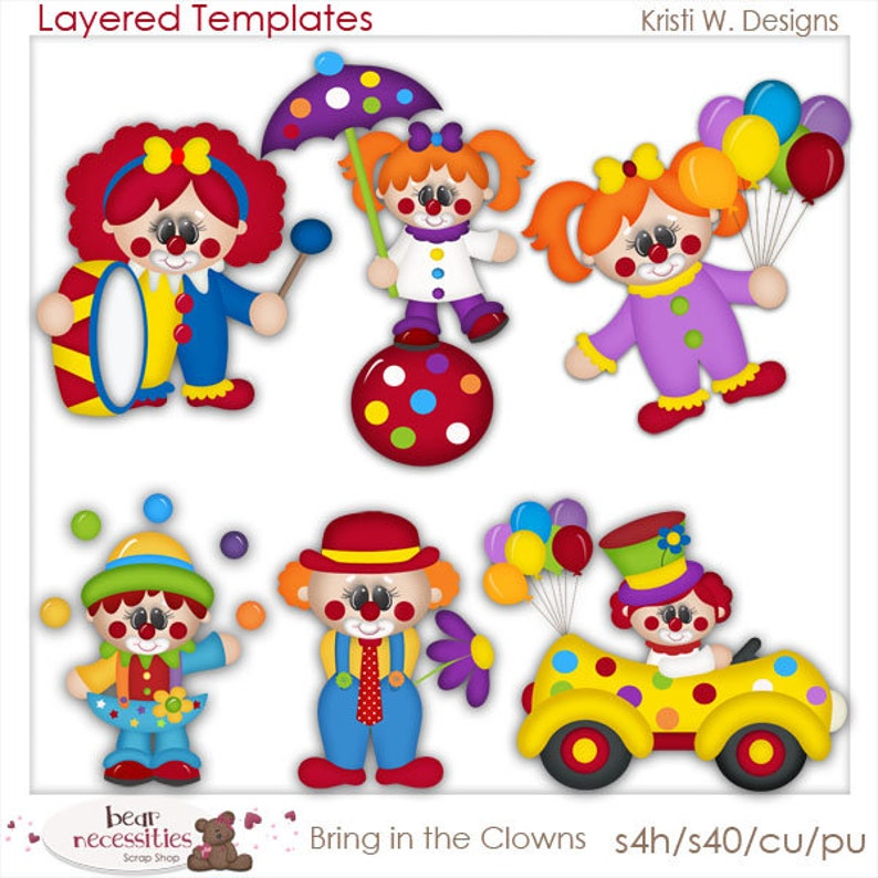 Bring In The Clowns  Layered Templates by Kristi W Designs image 0