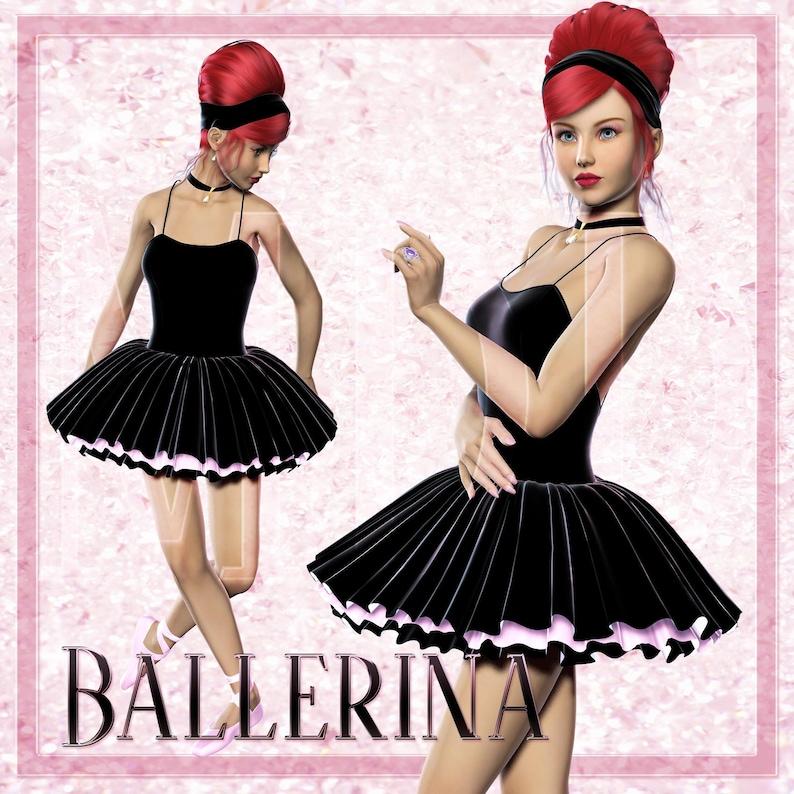Ballerina in Black Dress Graphics image 0