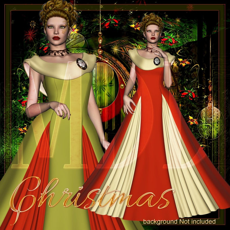 Women in Christmas Dress Graphics image 0