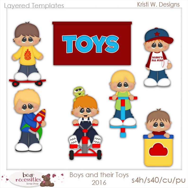 Boys and Their Toys  Layered Templates image 0