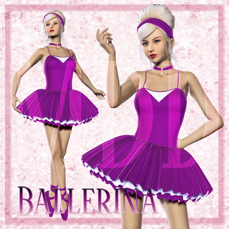 Ballerina in Purple Dress Graphics image 0