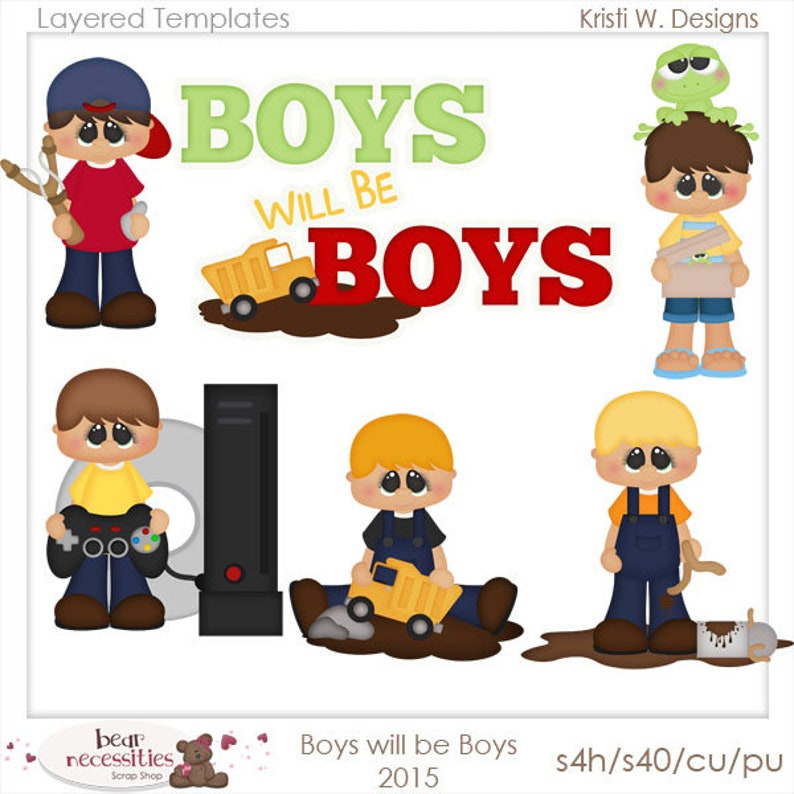 Boys Will Be Boys  Layered Templates by Kristi W Designs image 0