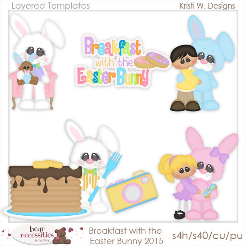Breakfast with Easter Bunny  Layered Templates by Kristi W image 0