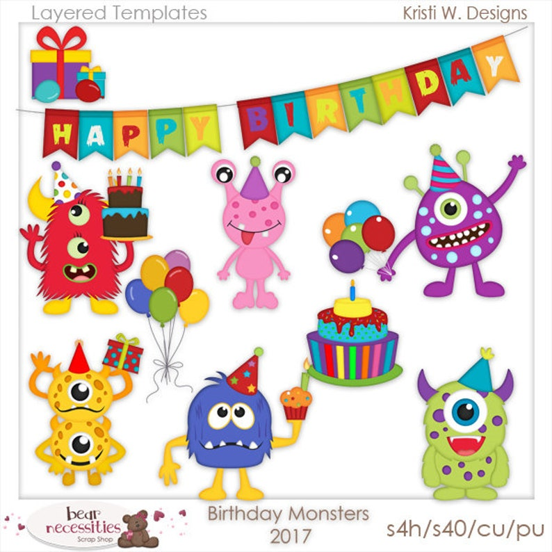 Birthday Monsters  Layered Templates by Kristi W Designs image 0