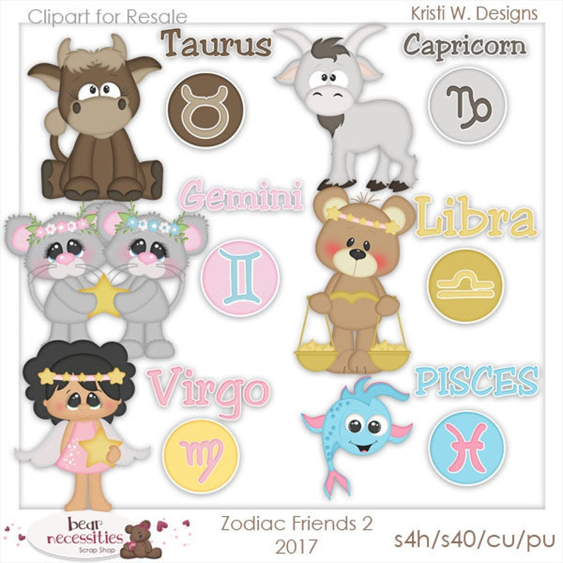 Commercial Use Clip Art  Zodiac Friends Graphics set 2  image 0
