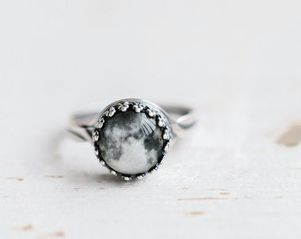 Full Moon ring, Unique ring for women, Space ring, Moon jewelry for women, Planet ring, Silver ring for women, Adjustable ring Space jewelry