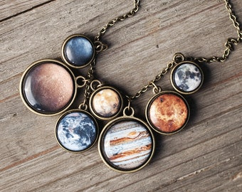 Solar System necklace, Statement necklace for women, Space necklace, Science jewelry, Planet necklace, Universe necklace, Galaxy necklace