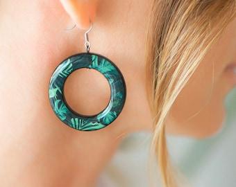 Palm leaves earrings, Green Resin earrings, Tropical jewelry for women, Tropical Leaf Print earrings, Resin leaf earrings, Botanical jewelry