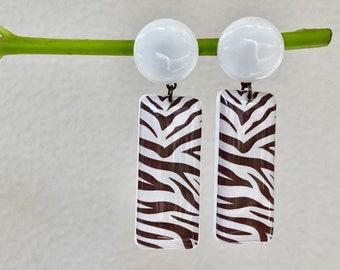 Animal print earrings, Zebra print earrings, Geometric earrings, Resin earrings, Animal print jewelry for women, Zebra jewelry Zebra earring