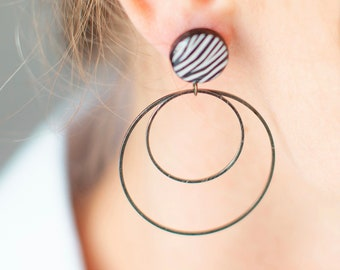 Animal print earrings, Zebra Jewelry, Resin earrings, Animal print jewelry for women, Zebra jewelry gift, Circle earrings Statement earrings