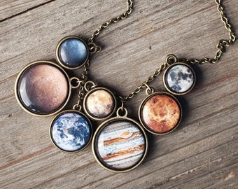 Solar System necklace, Statement necklace, Planet Necklace, Space jewelry, Galaxy Necklace, Space necklace, Science gift, Universe jewelry