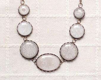 Botanical necklace,  Statement necklace, Boho bib necklace, Beige necklace, Boho wedding necklace, Ivory wedding necklace