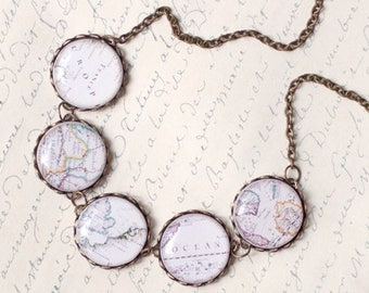 World Map necklace, World map jewelry, Travel necklace, World necklace, World traveler gift, Vintage map necklace, Vacation necklace