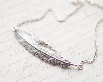 Large Silver Feather necklace for women, Inspirational women gift, Feather jewelry, Feather layering necklace, Silver Feather pendant