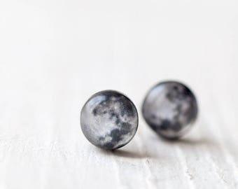 Full moon earrings, Earrings stud, Space jewelry, Earrings for men, Moon stud earrings, Celestial Gift for men, Man earrings, Space gift