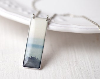 Blue Mountain necklace, Tuscany silver necklace, Picture necklace, Blue ombre necklace, Ombre jewelry Art picture jewelry, Art photo jewelry