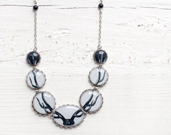 Deer necklace, Antler necklace, Black and white necklace, Reindeer necklace, Woodland jewelry, Animal jewelry