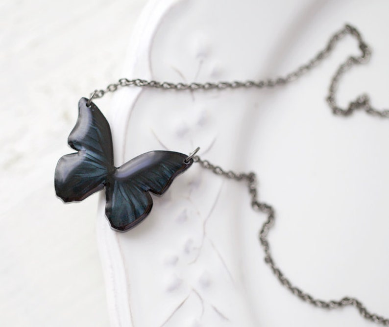 71ad98b008c91 Black Butterfly necklace, butterfly jewelry, butterfly pendant, butterfly  wings necklace