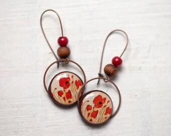 Red Poppy earrings, Red earrings, Dangle earrings, Poppy jewelry, Floral jewelry, Poppy flower earrings, Red flower earrings, Long earrings
