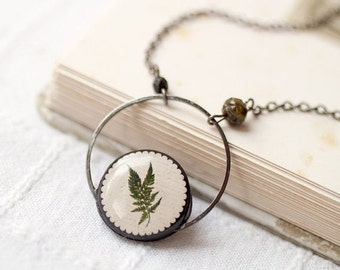 Plant necklace, Plant jewelry, Botanical necklace, Green necklace for women, Gardening gift for women, Gardening necklace, Botanical jewelry