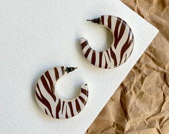 Animal print earrings, Resin earrings, Animal print jewelry for women, Acrylic hoop earrings, Zebra jewelry, Light Brown White Zebra earring