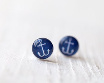 Tiny anchor earring studs, Anchor stud earrings, Navy blue studs, Navy blue earrings, Nautical earrings, Summer earrings, Everyday earrings