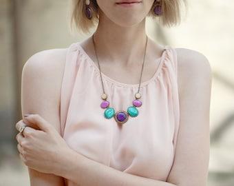 Purple statement necklace, Geometric necklace, Colorfull Bib necklace, Fuscia Necklace, Teal necklace, Jewel tones necklace, Color Candy