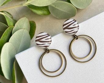 Animal print earrings, Resin earrings, Zebra print earrings, Animal print jewelry for women, Zebra jewelry, Light Brown White Zebra earring