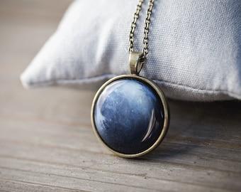 Neptune necklace, Navy blue necklace, Navy blue pendant, Planet necklace, Neptune jewelry, Blue pendant necklace, Planet jewelry, celestial