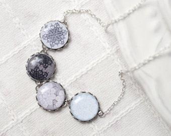 Lace snowflake necklace - Vintage Lace necklace -  Snowflake jewelry - Holiday jewelry - Black snowflake - blue, gray, black necklace