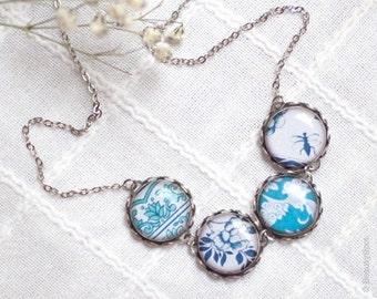 Porcelain necklace - Navy Blue necklace - Retro necklace - Floral necklace - Blue bib necklace - Ornaments necklace, blue and white necklace