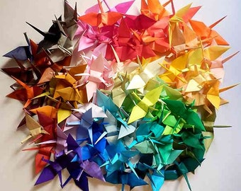 100 Colors - 100 Small Origami Cranes Origami Paper Cranes - Made of 7.5cm 3 inches Japanese Paper - 100 Different Colors
