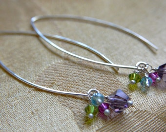 Sterling Silver Lightweight Faceted Spring Crystals Drop Minamalist Earrings