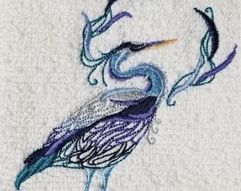Heron Towel - Bird Towel -  Embroidered Towel - Flour Sack Towel - Bath Towel - Hand Towel - Fingertip Towel - Apron