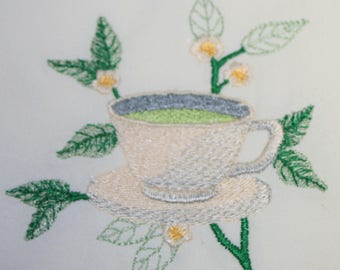 Set of 2 Hand Embroidered Mint Tea Teapot and Cup 33 x 38 inch Flour Sack Dishtowels