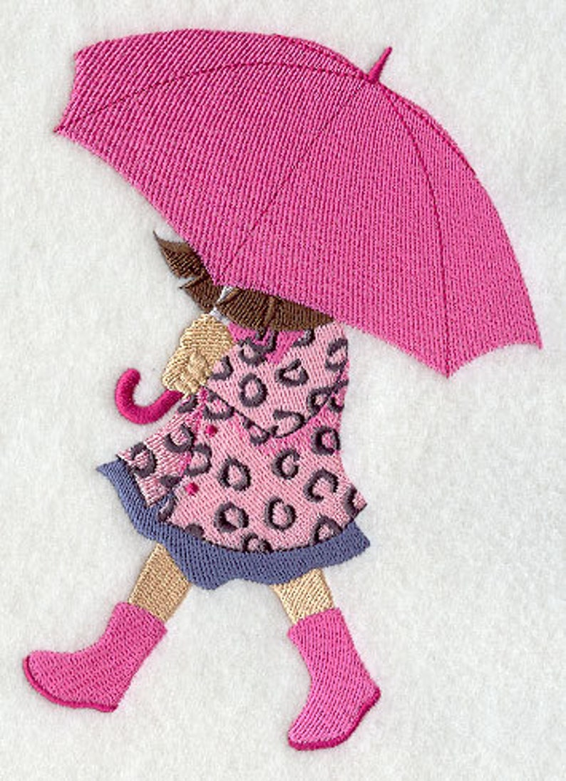 Umbrella Towel Girl Towel Fashionista Towel Embroidered Etsy