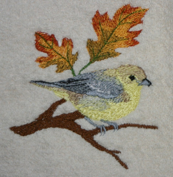 Tanger Towel Bird Towel Fall Towel Embroidered Towel Etsy