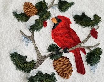 Cardinal Towel - Bird Towel - Christmas Towel - Embroidered Towel - Flour Sack Towel - Hand Towel - Bath Towel - Apron - Fingertip Towel